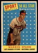 1958 Topps #494 Warren Spahn AS holes
