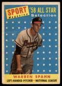 1958 Topps #494 Warren Spahn AS VG Very Good