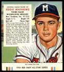 1954 Red Man #NL23 Eddie Mathews TAB VGEX