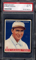 1933 Goudey #174 Curly Ogden PSA 3 RC Rookie Montreal Royals