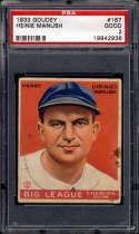 1933 Goudey #187 Heinie Manush PSA 2 RC Rookie Washington Senators
