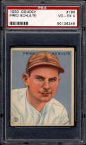 1933 Goudey #190 Fred Schulte PSA 4 RC Rookie Washington Senators