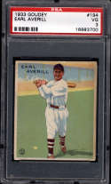 1933 Goudey #194 Earl Averill PSA 3 RC Rookie Cleveland Indians