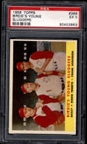 1958 Topps #386 Ed Bailey/Birdie Tebbetts/Frank Robinson Birdies' Young Sluggers PSA 5 Cincinnati Reds