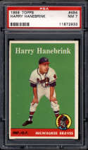1958 Topps #454 Harry Hanebrink PSA 7 RC Rookie Milwaukee Braves