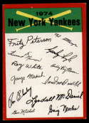 1974 Topps Red Team Checklists #NNO New York Yankees EX/NM New York Yankees