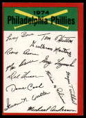 1974 Topps Red Team Checklists #NNO Philadelphia Phillies EX Excellent Philadelphia Phillies