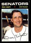 1971 Topps #307 Don Wert NM Near Mint Washington Senators