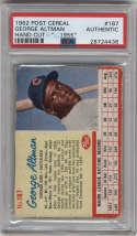 1962 Post Cereal #187 George Altman ERR PSA A Chicago Cubs 1955