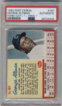 1962 Post Cereal #187b George Altman COR PSA A Chicago Cubs 1955 (.