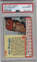 1962 Post Cereal #199 Art Mahaffey PSA A Philadelphia Phillies