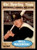 1962 Topps #391 Bill Mazeroski UER AS marked Pittsburgh Pirates