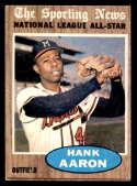 1962 Topps #394 Hank Aaron UER AS marked Milwaukee Braves