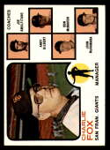1973 Topps #252 Charlie Fox MG EX Excellent San Francisco Giants orange