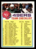 1973 Topps Team Checklists #25 San Francisco 49ers G/VG Good/Very Good San Francisco 49ers