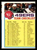 1973 Topps Team Checklists #25 San Francisco 49ers miscut San Francisco 49ers