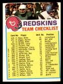 1973 Topps Team Checklists #26 Washington Redskins EX Excellent Washington Redskins