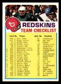 1973 Topps Team Checklists #26 Washington Redskins NM+ Washington Redskins
